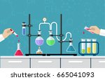 medical laboratory. research ... | Shutterstock .eps vector #665041093