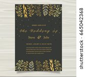 wedding invitation card... | Shutterstock .eps vector #665042368