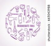 hairdresser's tools.... | Shutterstock .eps vector #665043988