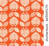 seamless retro pattern with... | Shutterstock .eps vector #665045170