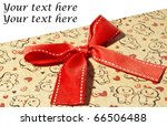 Gift box with red bow and space for your text - stock photo