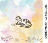 web line icon. tiger  wild... | Shutterstock .eps vector #665068906