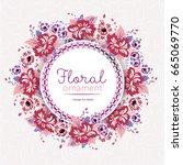 beautiful wreath of flowers... | Shutterstock .eps vector #665069770