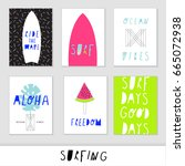 set of creative and cute vector ... | Shutterstock .eps vector #665072938