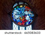 Stained Glass Window In Trakai...