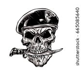 skull with beret and knife | Shutterstock . vector #665085640