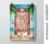 vector summer beach party flyer ... | Shutterstock .eps vector #665088289