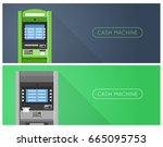 atm machine in bank or office... | Shutterstock .eps vector #665095753