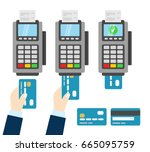 three stages of payment through ... | Shutterstock .eps vector #665095759