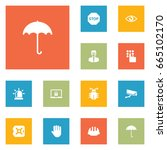 set of 12 safety icons set... | Shutterstock .eps vector #665102170