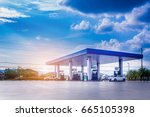 Gas Fuel Station With Clouds...