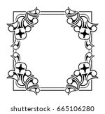 black and white silhouette... | Shutterstock .eps vector #665106280