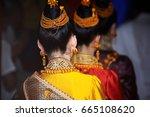 back of beautiful laos girl in... | Shutterstock . vector #665108620