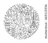 japan symbols set in round... | Shutterstock .eps vector #665115556