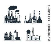 digital vector black factory... | Shutterstock .eps vector #665118943