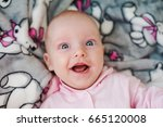 funny funny kid with big blue... | Shutterstock . vector #665120008
