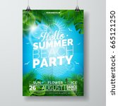 vector summer beach party flyer ... | Shutterstock .eps vector #665121250