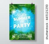 vector summer beach party flyer ... | Shutterstock .eps vector #665121250