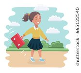 cute girl with backpacks go to... | Shutterstock .eps vector #665122540