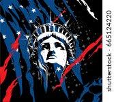statue of liberty head vector | Shutterstock .eps vector #665124220