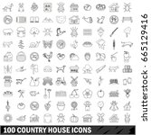 100 country house icons set in... | Shutterstock . vector #665129416