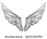 wings. vector illustration on...   Shutterstock .eps vector #665134450