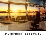 wheelhouse control board of... | Shutterstock . vector #665134750