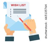 hand with wish list and... | Shutterstock .eps vector #665135764