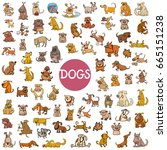 cartoon illustration of dogs... | Shutterstock . vector #665151238