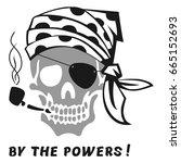 vector image of skull captain... | Shutterstock .eps vector #665152693