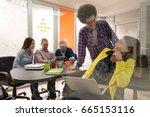 portrait of startup group of... | Shutterstock . vector #665153116