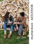 couple of lovers drinks beer.... | Shutterstock . vector #665155438