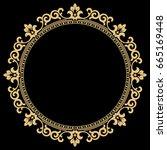 decorative line art frame for... | Shutterstock . vector #665169448