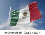 mexico flag is waving at a... | Shutterstock . vector #665171674