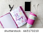 girly thermos  notebook  phone... | Shutterstock . vector #665173210