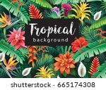 background from tropical... | Shutterstock .eps vector #665174308