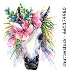 Stock photo watercolor unicorn illustration white horse in flower wreath 665174980