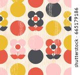 seamless pattern with flowers... | Shutterstock .eps vector #665179186