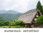 shirakawa go in the spring ... | Shutterstock . vector #665185363