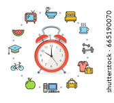 daily routines concept healthy... | Shutterstock . vector #665190070