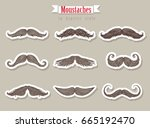 moustaches in hipster style for ... | Shutterstock .eps vector #665192470