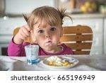 happy little girl having... | Shutterstock . vector #665196949