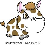 Cute Crazy Mad Cow Vector Illustration - stock vector