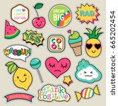 Stock vector set of fashion patches cute colorful badges fun cartoon icons design vector 665202454