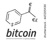 bitcoin logo like a chemical... | Shutterstock .eps vector #665205430