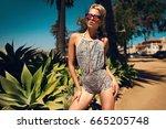 beautiful fashionable young... | Shutterstock . vector #665205748