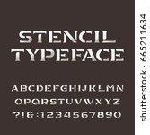 stencil alphabet. retro... | Shutterstock .eps vector #665211634