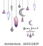 watercolor crystals card. gem... | Shutterstock . vector #665211829