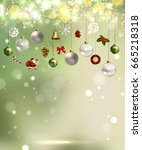 light christmas background with ... | Shutterstock .eps vector #665218318