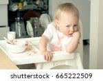 girl toddler is drinking soup... | Shutterstock . vector #665222509